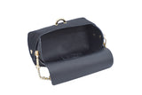 Black cowhide evening clutch leather bag with detachable gold chain strap