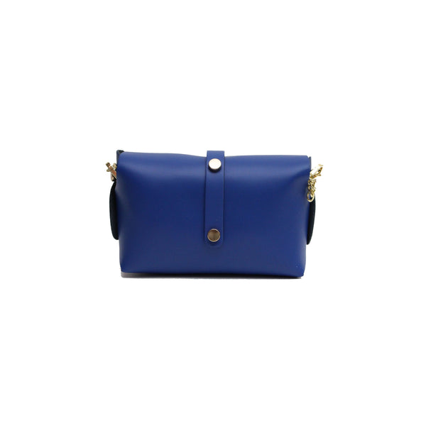 Blue leather evening clutch bag with detachable gold chain strap