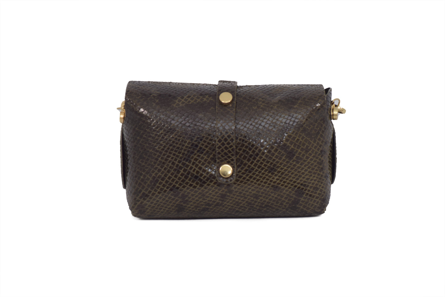 Brown Snake Patterned leather evening clutch bag with detachable gold chain strap