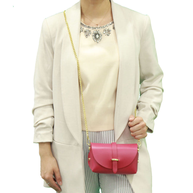 Fuchsia evening clutch leather bag with detachable gold chain strap