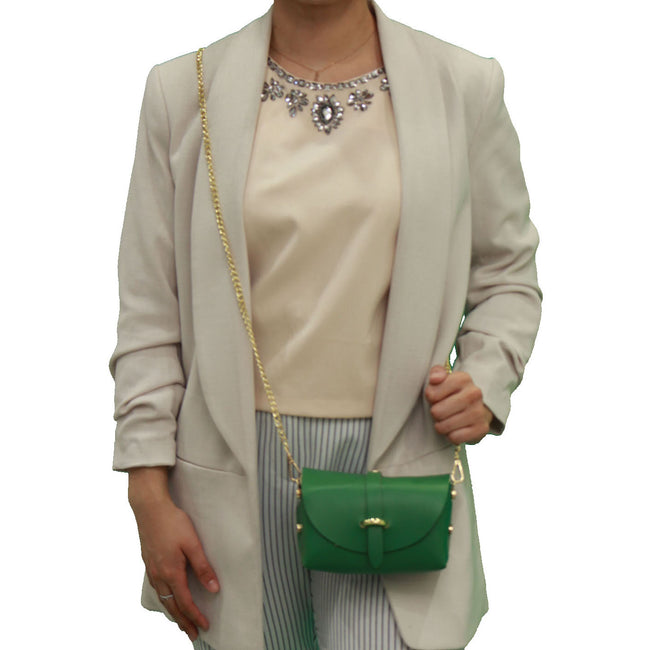 Green evening clutch leather bag with detachable gold chain strap