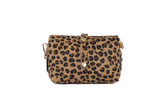 Leopard Cowhide evening clutch leather bag with detachable gold chain strap