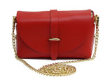 Red evening clutch leather bag with detachable gold chain strap