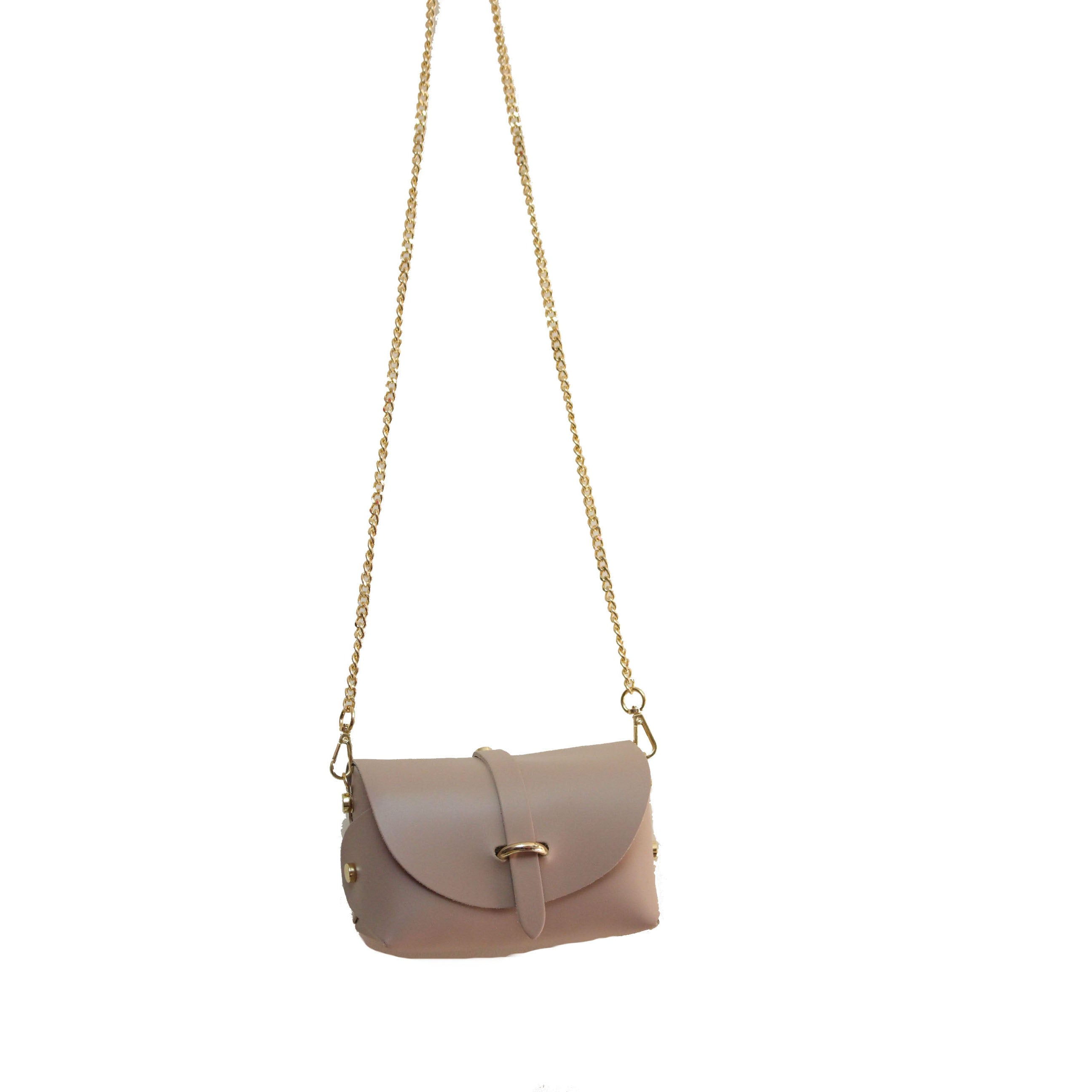 Smoke Rose evening clutch leather bag with detachable gold chain strap