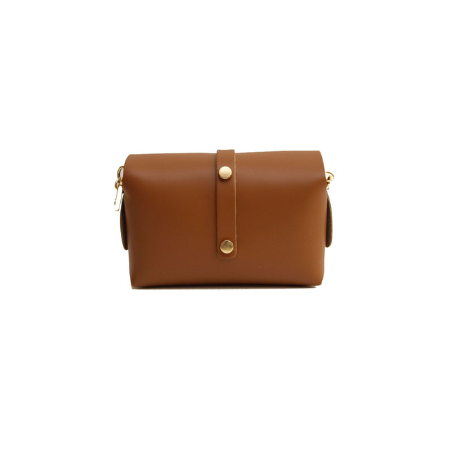 Tan leather evening clutch bag with detachable gold chain strap