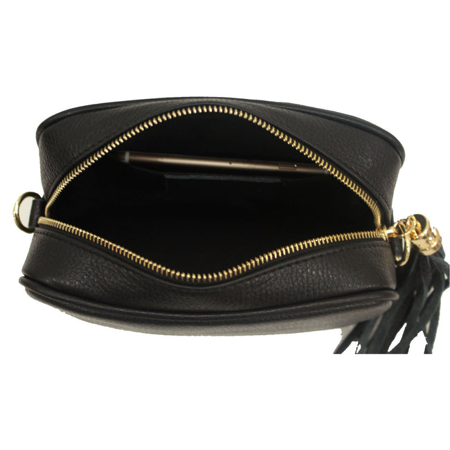 Black real soft leather compact cross body bag with leather tassel attached to zipper closure