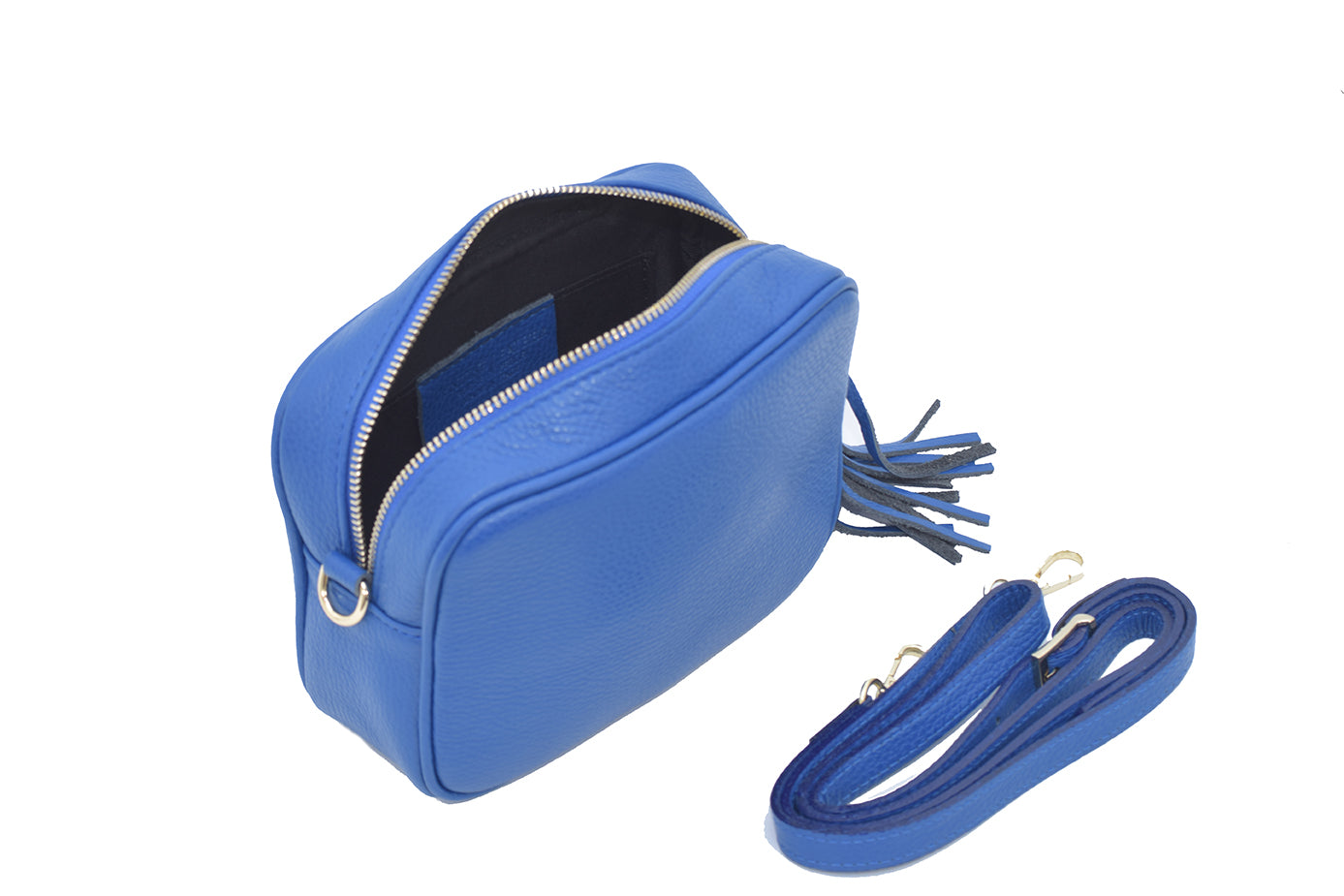 Blue real soft leather compact cross body bag with leather tassel attached to zipper closure