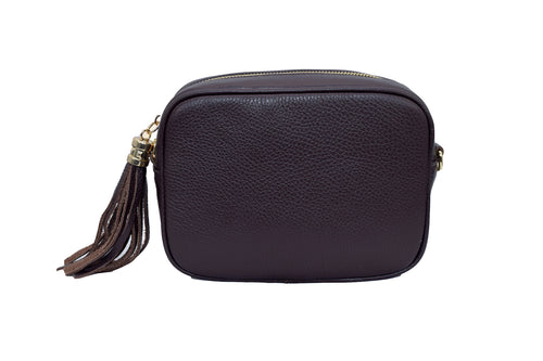 Dark Brown real soft leather compact cross body bag with leather tassel attached to zipper closure