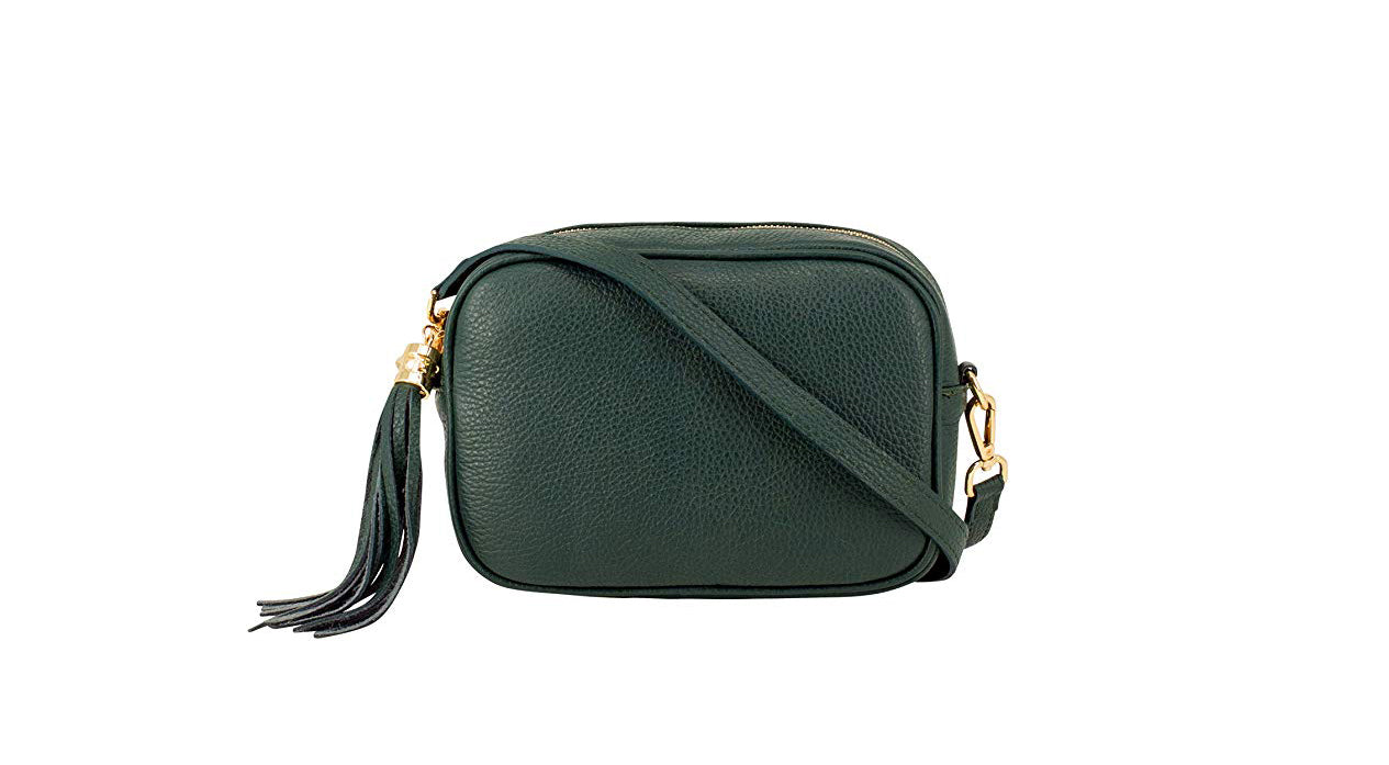 Dark Green real soft leather compact cross body bag with leather tassel attached to zipper closure