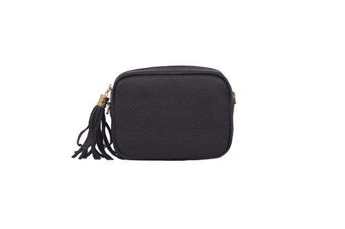 Dark Grey real soft leather compact cross body bag with leather tassel attached to zipper closure