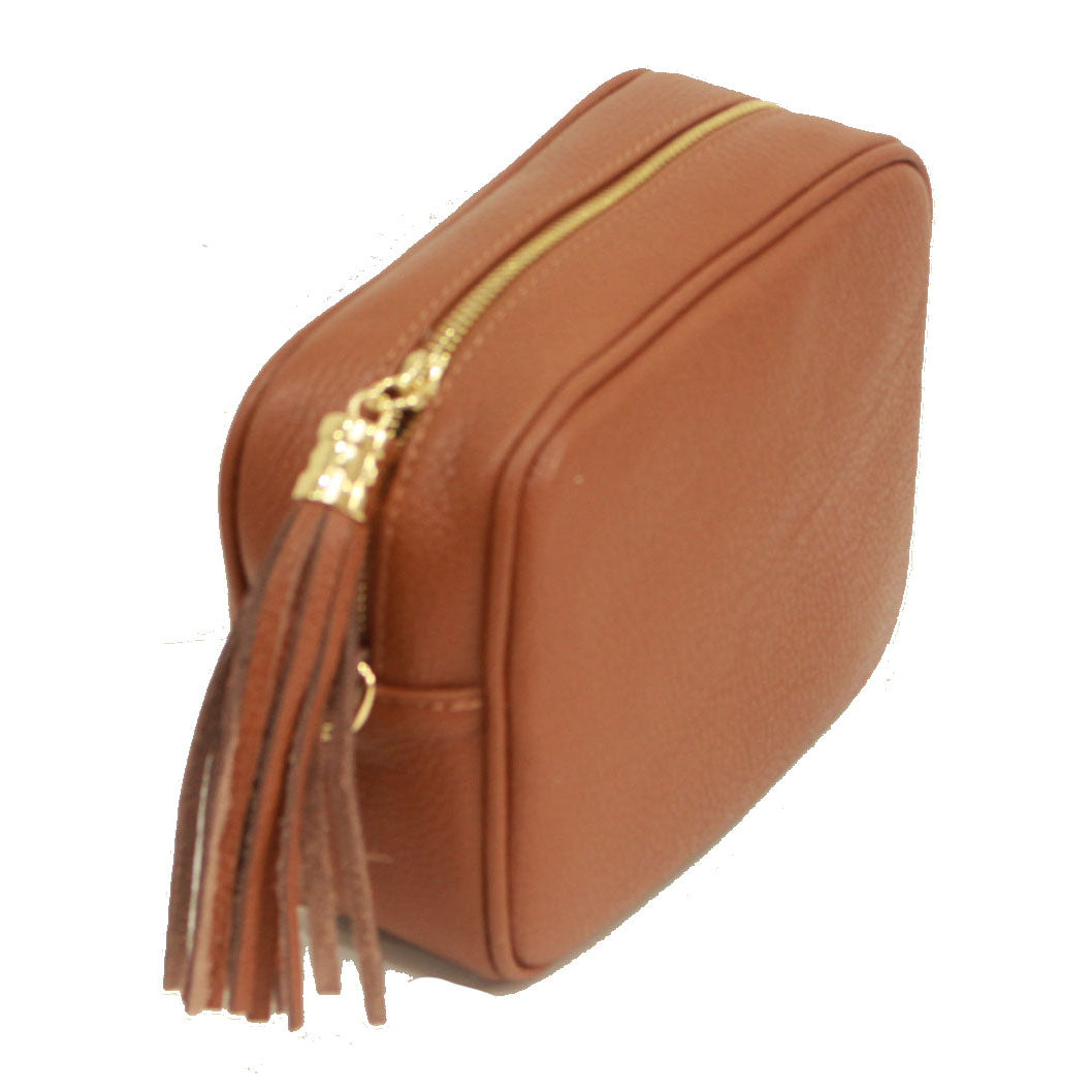 Dark Tan real soft leather compact cross body bag with leather tassel attached to zipper closure