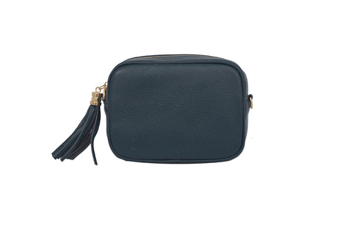 Dark Teal real soft leather compact cross body bag with leather tassel attached to zipper closure