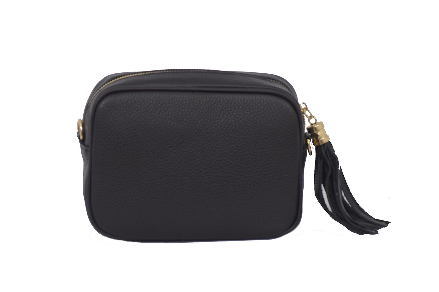 Navy real soft leather compact cross body bag with leather tassel attached to zipper closure