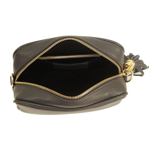 Olive Green real soft leather compact cross body bag with leather tassel attached to zipper closure