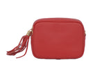 Red real soft leather compact cross body bag with leather tassel attached to zipper closure