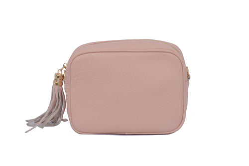 Smoke Rose real soft leather compact cross body bag with leather tassel attached to zipper closure