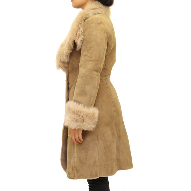 Womens sheepskin three-quarter length button up coat with large collar