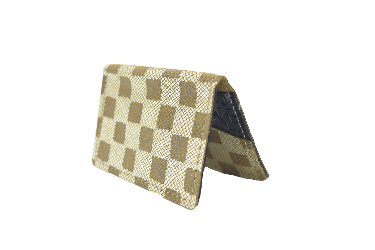 Checkerboard Unisex Handmade Oyster Travel Card Holder Wallet ID in Leather, Cowhide, Nubuck and Suede