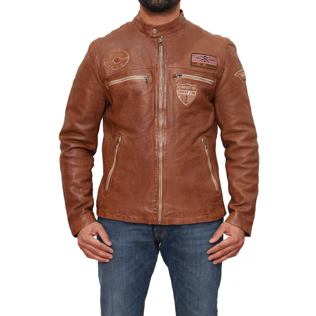 Mens real leather racing biker jacket with badges.