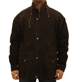 Mens 3/4 Length Leather Parka Nubuck Leather Coat. Available in Black, Green and Rust