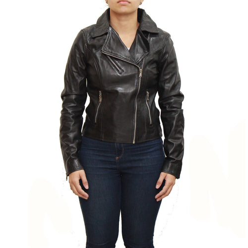 Womens black fitted short biker jacket with waist adjusters