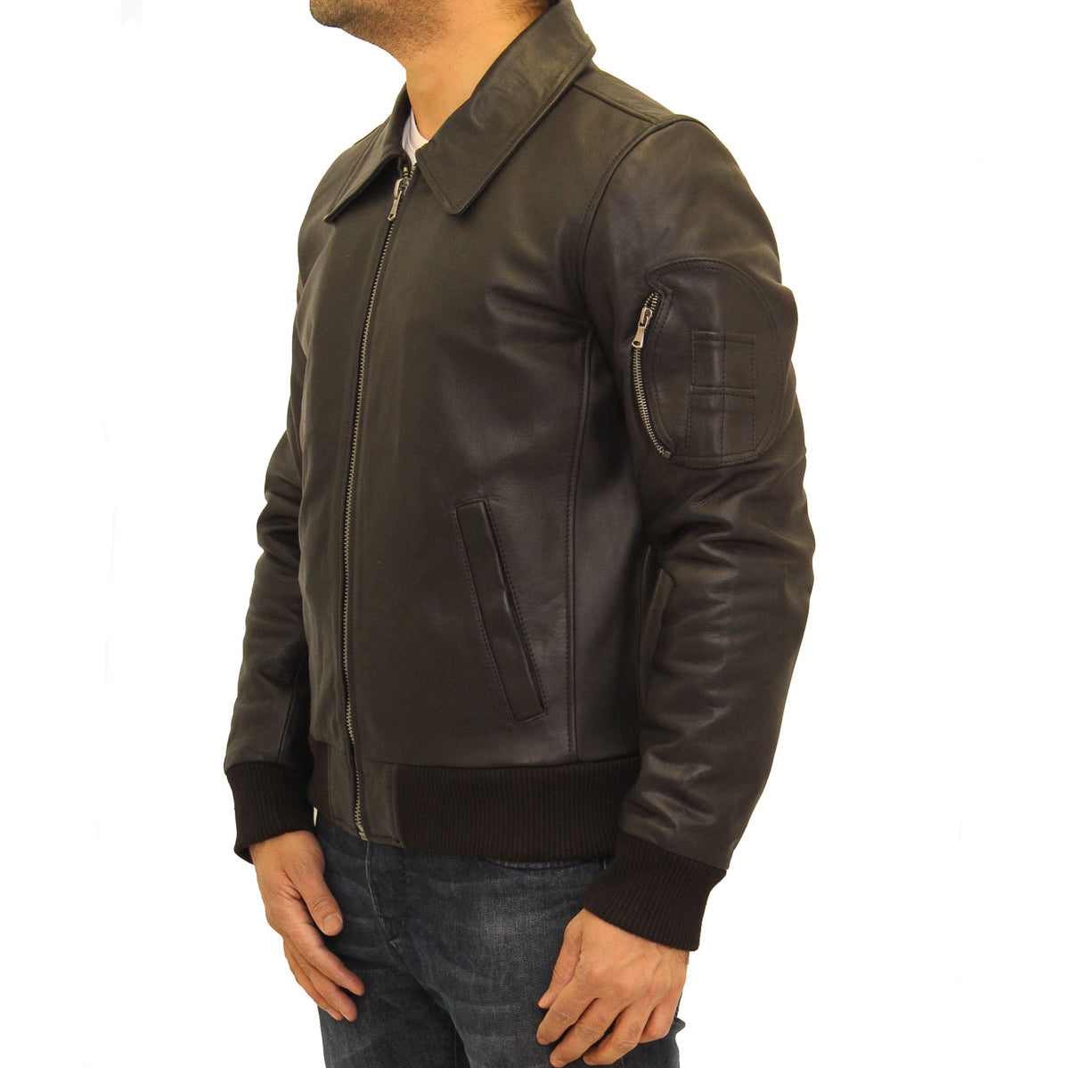 b01fc0636cf Mens aniline cowhide leather M2 army style bomber jacket – A to Z ...