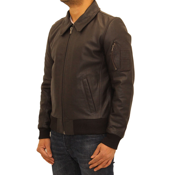 Mens aniline cowhide leather M2 army style bomber jacket