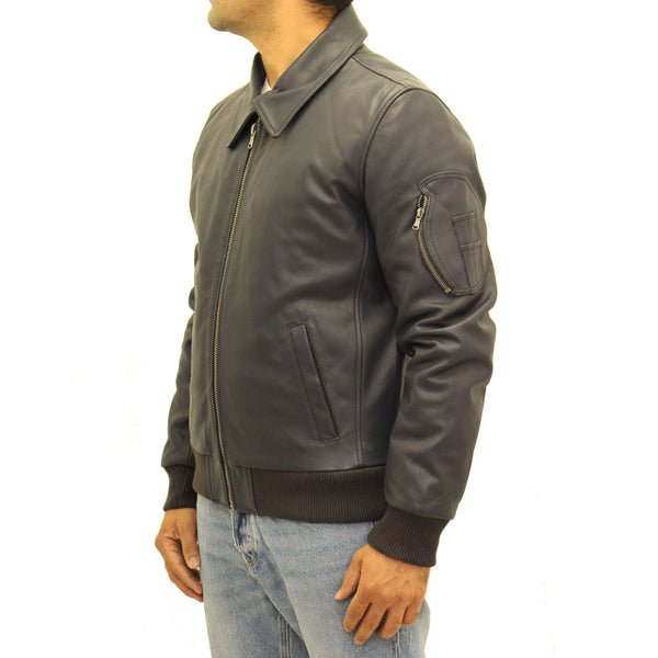 5e296af26 Mens aniline cowhide leather M2 army style bomber jacket