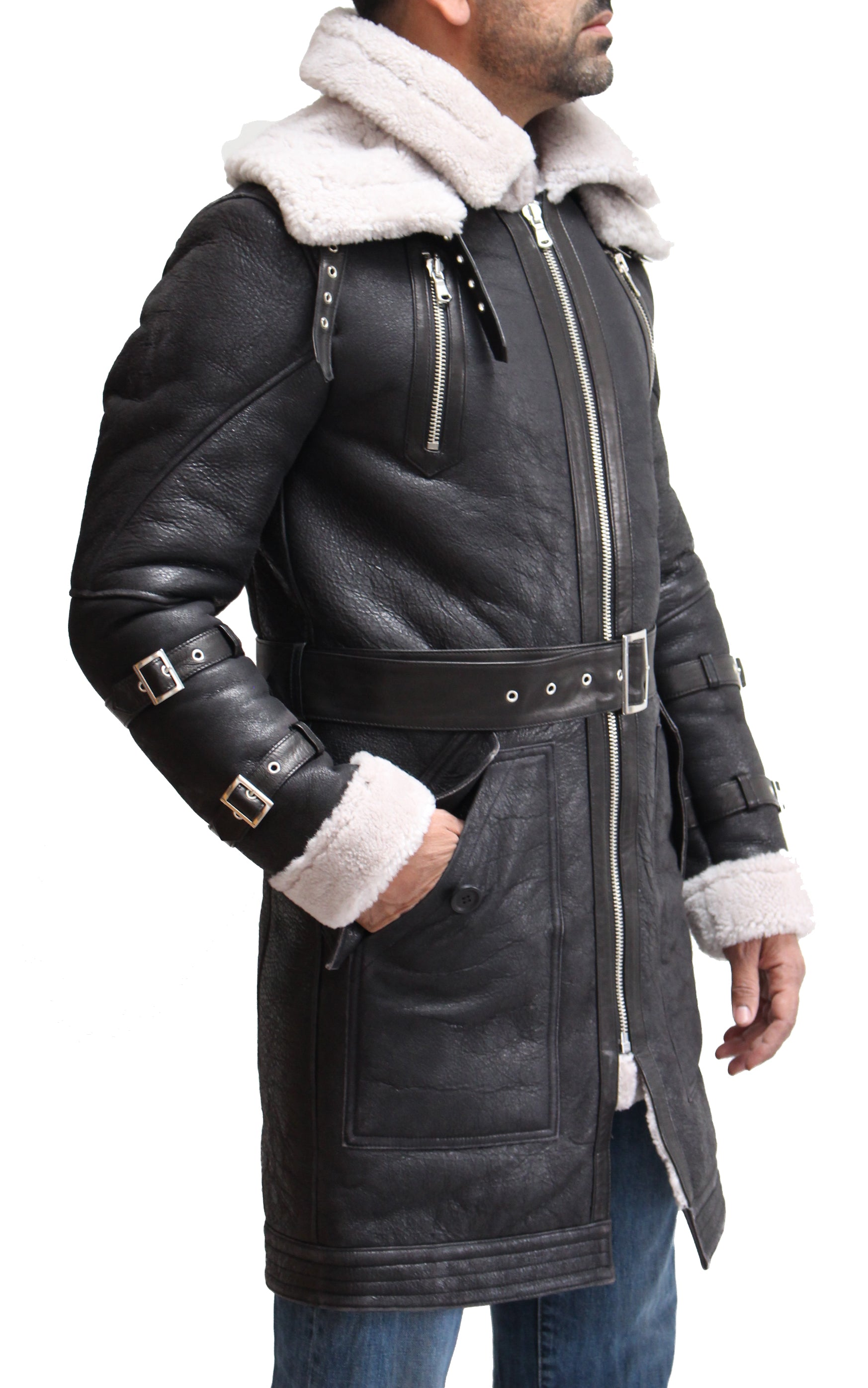 Mens Luxurious Double Faced Sheepskin Trench/Long Coat with Belt and Removable Collar. Available in Black and Grey