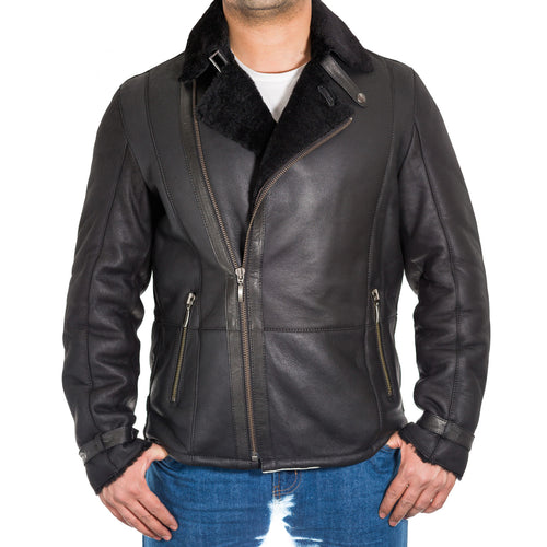 Mens real shearling sheepskin biker jacket with stylish side zip fastening. Available in Black and Tan