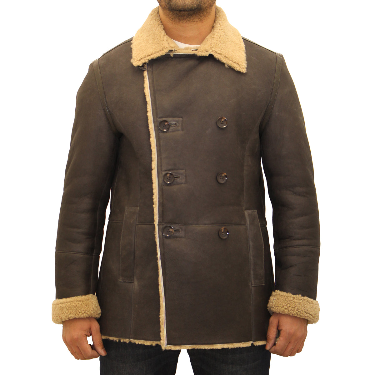 Mens German naval shearling sheepskin double breasted pea coat