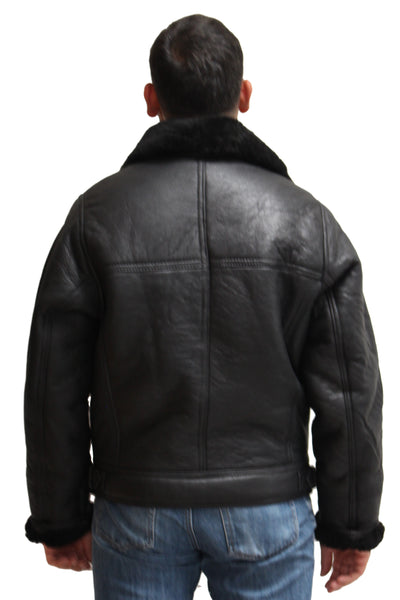 Mens leather and sheepskin cross zip fastening American style bomber pilot biker jacket