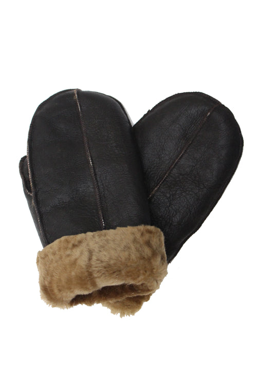 Unisex Dark Brown with Ginger Fur Luxury Soft and Thick Sheepskin Mittens