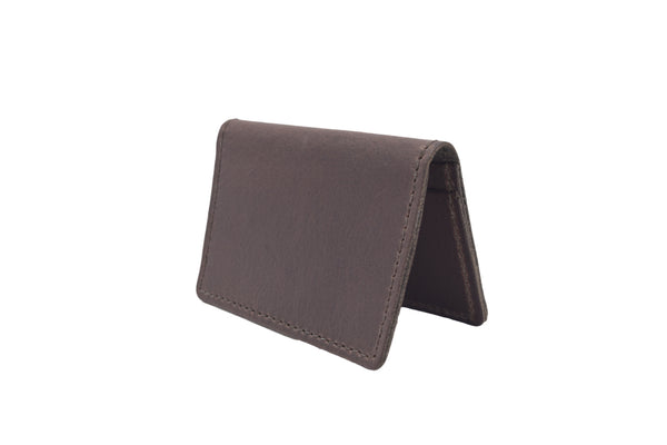 Just Dark Brown Unisex Handmade Oyster Travel Card Holder Wallet ID in Leather, Cowhide, Nubuck and Suede