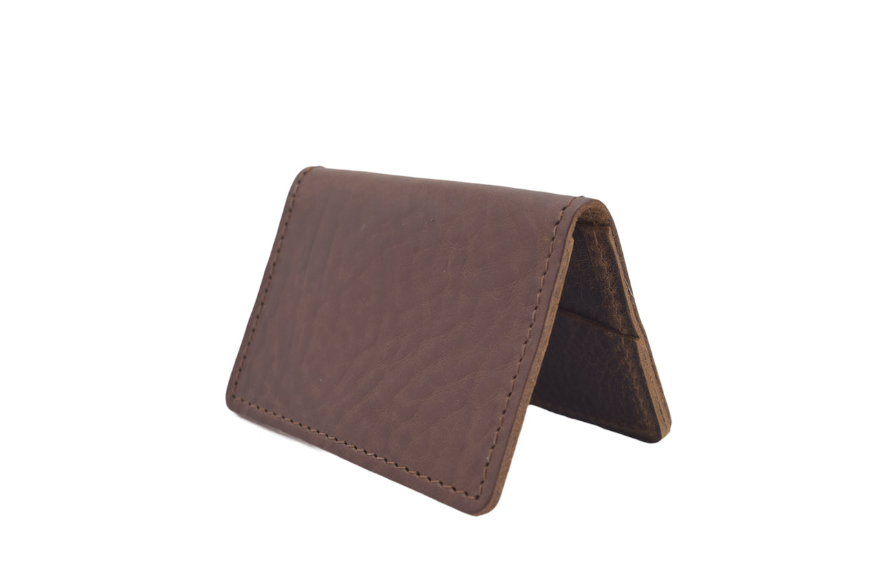 Dark Brown Unisex Handmade Oyster Travel Card Holder Wallet ID in Leather, Cowhide, Nubuck and Suede