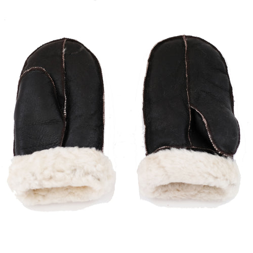 Unisex Dark Brown with Cream Fur Luxury Soft and Thick Sheepskin Mittens