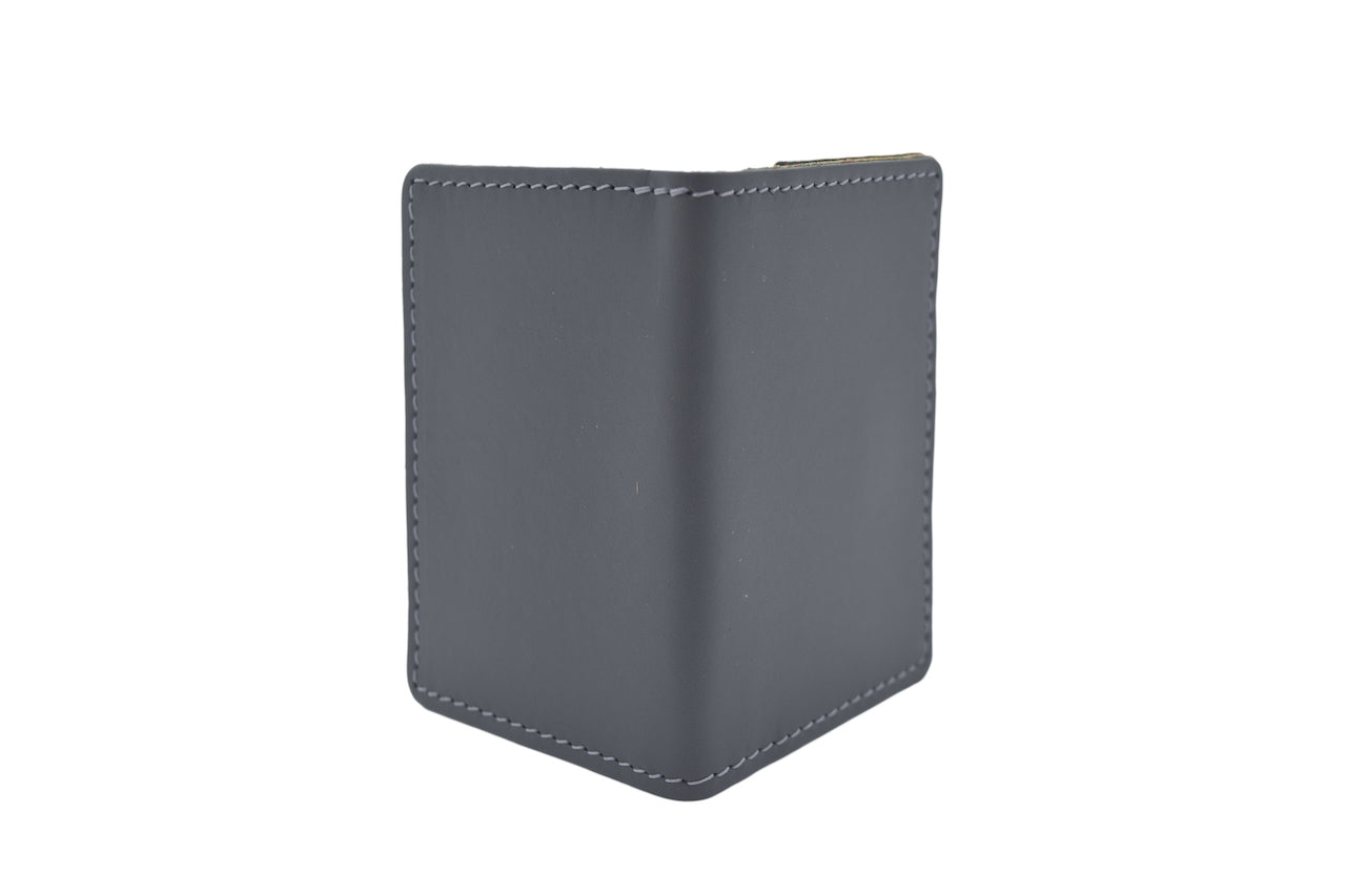 Dark Grey Unisex Handmade Oyster Travel Card Holder Wallet ID in Leather, Cowhide, Nubuck and Suede