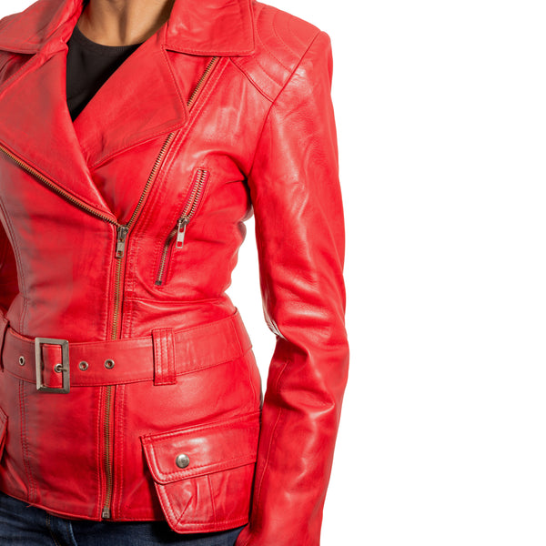 Women retro cross zip biker jakcet with removable belt.