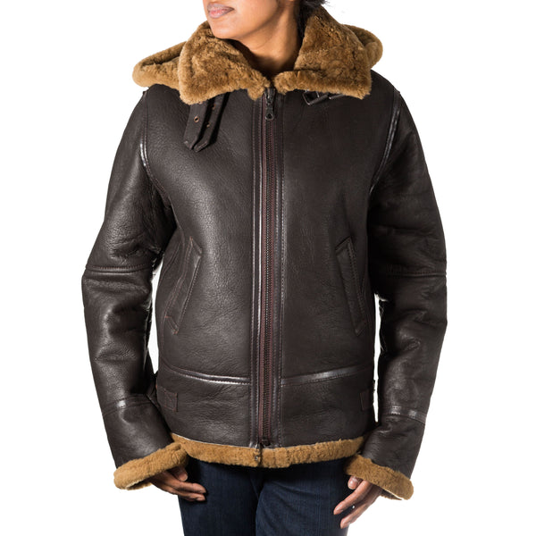 Womens classic style B3 Aviator / Airforce sheepskin hooded leather winter jacket