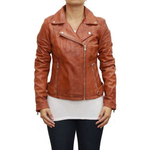 Womens Brando fitted biker style jacket in a cognac shade.