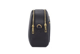Black real soft leather compact cross body bag with leather travel card slip pocket and double zip closure