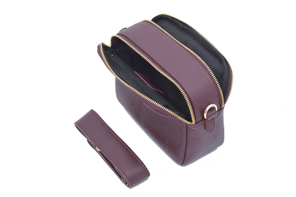 Burgundy real soft leather compact cross body bag with leather travel card slip pocket and double zip closure