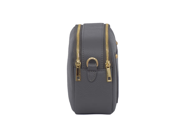 Dark Grey real soft leather compact cross body bag with leather travel card slip pocket and double zip closure
