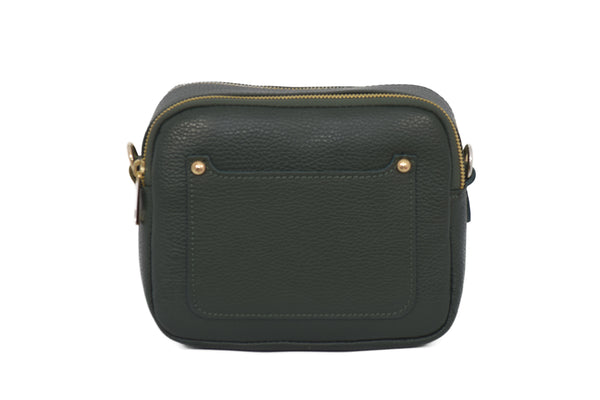 Green real soft leather compact cross body bag with leather travel card slip pocket and double zip closure