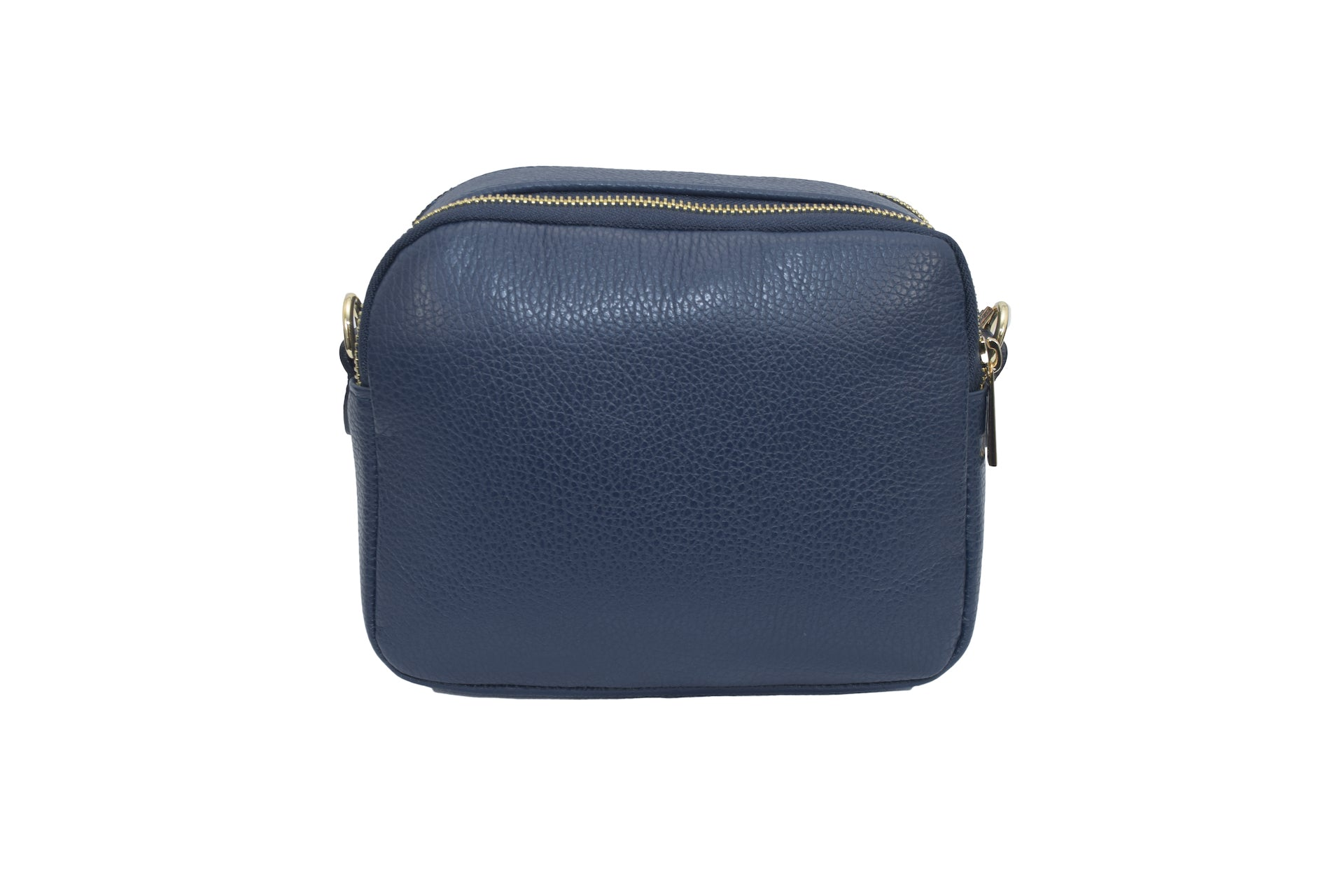 Navy Blue real soft leather compact cross body bag with leather travel card slip pocket and double zip closure