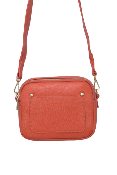 Orange real soft leather compact cross body bag with leather travel card slip pocket and double zip closure