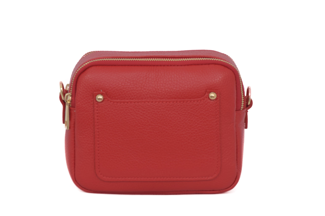 Red real soft leather compact cross body bag with leather travel card slip pocket and double zip closure
