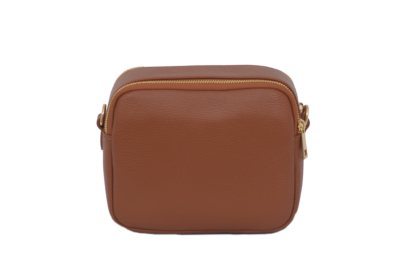 Tan real soft leather compact cross body bag with leather travel card slip pocket and double zip closure