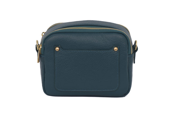 Teal real soft leather compact cross body bag with leather travel card slip pocket and double zip closure