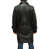 Mens Dr Who military style double breast Uboat inspired leather German Pea coat